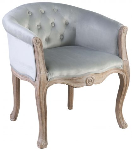 Block & Chisel duck egg blue velvet upholstered tub chair