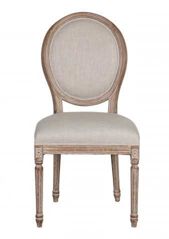 MARLI Dining Chair - with cream linen upholstery, french inspired wooden frame
