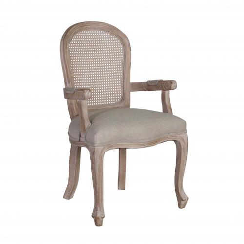 Block & Chisel linen upholstered carver dining chair