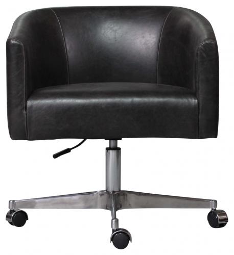 Block & Chisel Swivel Tub Chair Black PU Leather On Castors
