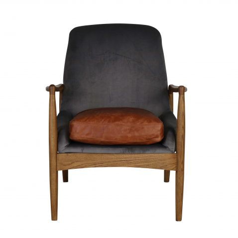 mid-century modern design Hackberry wood legs and plush leather and velvet seat