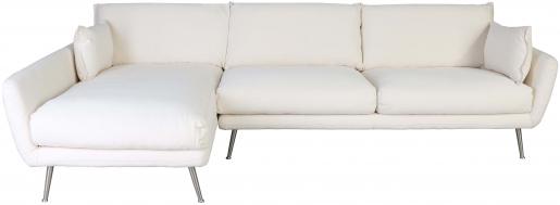 Block & Chisel cream velvet upholstered sofa with metal legs