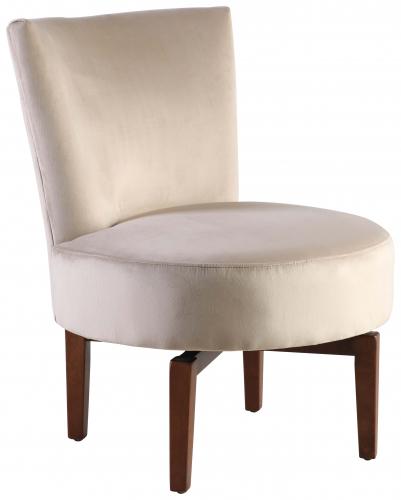 Block & Chisel champagne velvet upholstered swivel chair