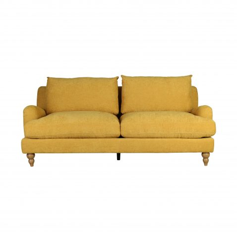 mission sofa in buttercup mustard fabric with wooden legs