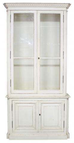 Block & Chisel antique white bookcase with glass doors and shelves
