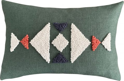 punch needle scatter cushion green