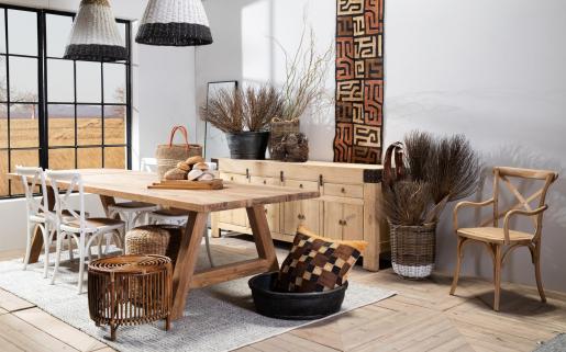 Block & Chisel Antique Oak crossback armchair with rattan seat african safari furniture
