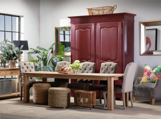 Block & Chisel brown velvet upholstered button tufted dining chair
