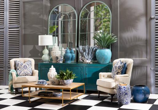 ceramic planter blue and white