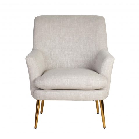 modern occasional chair in linen with metal legs