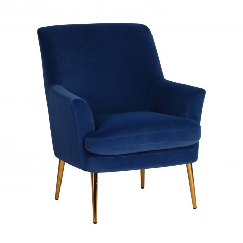 Blue velvet upholstered occasional chair with gold legs