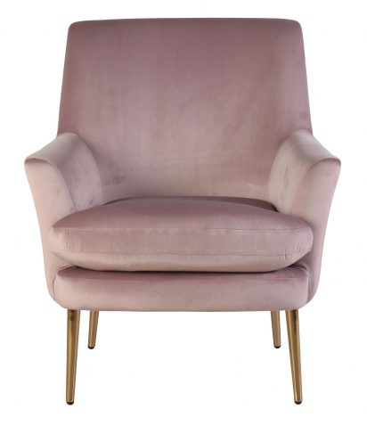 Lana Occasional chair with armrests in pink velvet