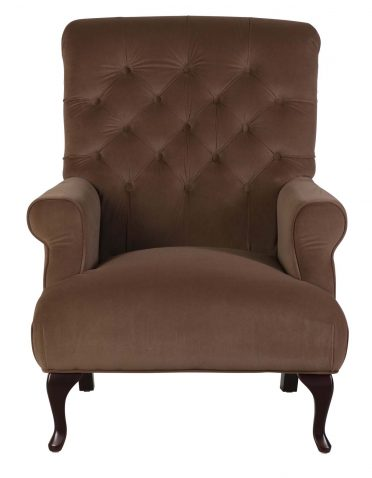 Deep tufted armchair with wooden legs