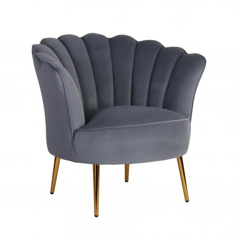marina scalloped shape back in grey with high armrest tub chair