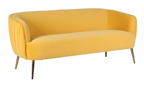 Modena 3 seater sofa in yellow with ribbed backing
