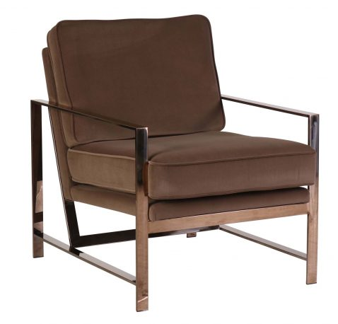 Velveteen brown cushions with pink bronze steel legged occasional chair