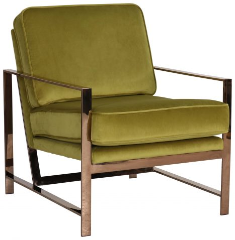 Block & Chisel green velvet upholstered occasional chair with stainless steel legs