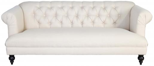 Block & Chisel cream velvet upholstered sofa with rubber wood legs