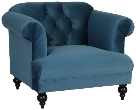 Block & Chisel blue velvet upholstered occasional chair with rubber wood legs