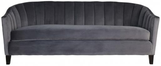 Block & Chisel grey velvet upholstered sofa with rubber wood legs