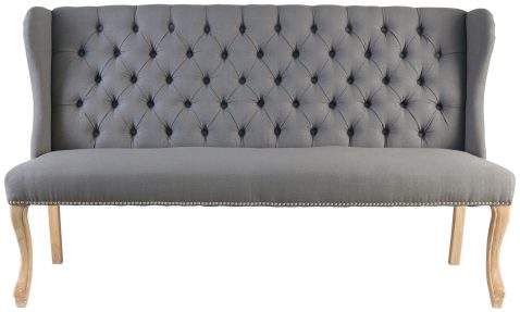 Block & Chisel charcoal linen upholstered sofa with rubber wood legs