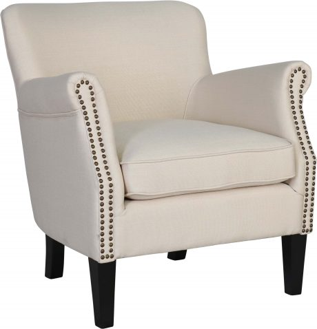 Block & Chisel cream linen upholstered boudoir chair with rubber wood legs