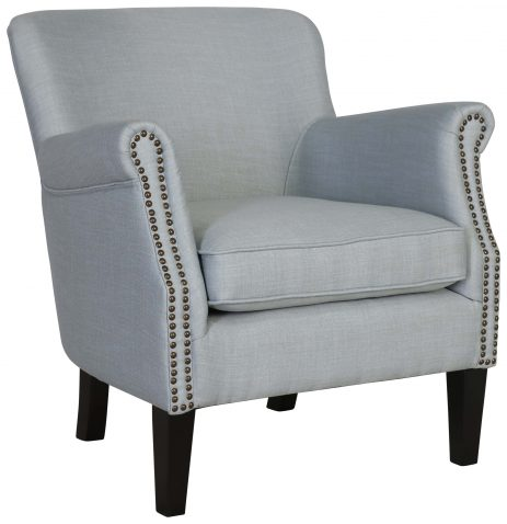 Block & Chisel blue linen upholstered boudoir chair with rubber wood legs