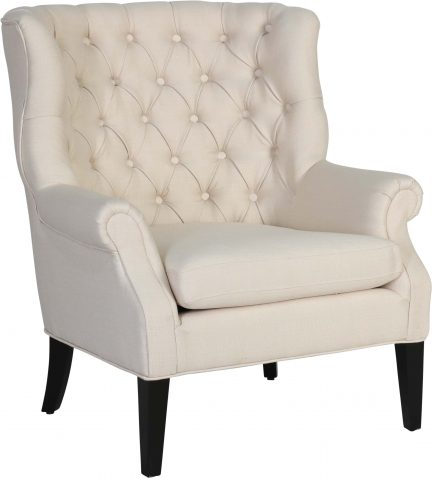 Block & Chisel cream linen upholstered accent chair with rubber wood legs