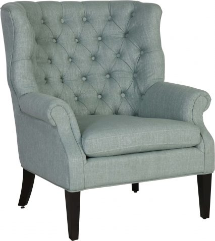 Block & Chisel teal linen upholstered accent chair with rubber wood legs