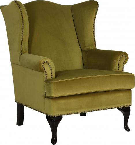 Block & Chisel green velvet upholstered wingback chair with rubber wood legs