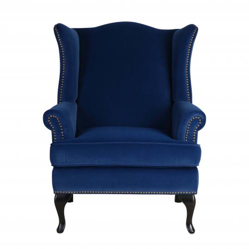 blue velvet wingback with stud detail