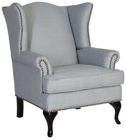 Block & Chisel blue linen upholstered wingback chair with rubber wood legs