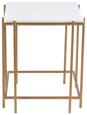 Block & Chisel square iron side table with marble top