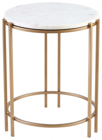 Block & Chisel round iron side table with marble top
