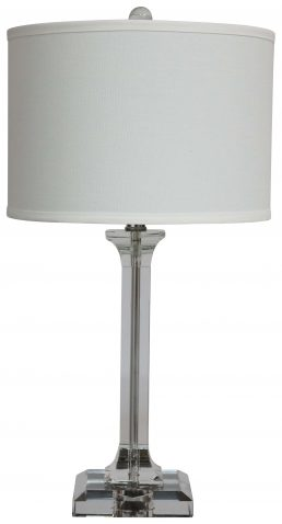 Block & Chisel table lamp with white linen shade and crystal base