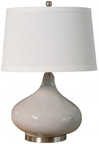 Block & Chisel table lamp with white linen shade and ceramic and metal base