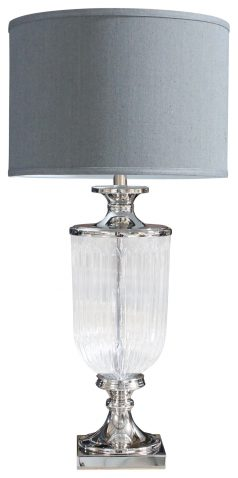 Block & Chisel lamp base with grey linen shade