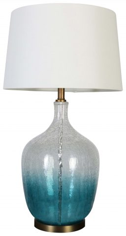 Block & Chisel glass and iron lamp with white linen shade
