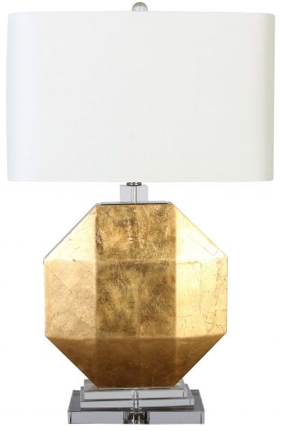 Block & Chisel crystal, iron and MDF lamp with white linen shade
