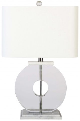 Block & Chisel crystal, iron and marble lamp with white linen shade