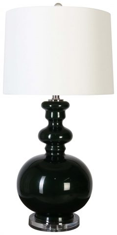 Block & Chisel glass, iron and acrylic lamp with white linen shade