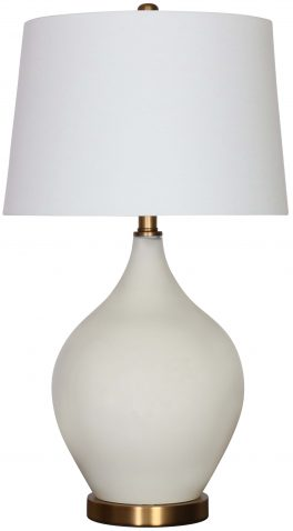 Block & Chisel solid white glass lamp with white linen shade