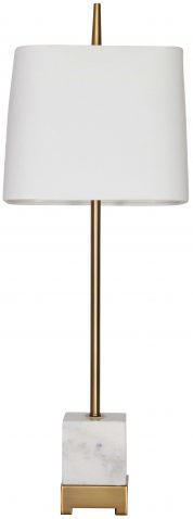 Block & Chisel natural white marble lamp with white linen shade