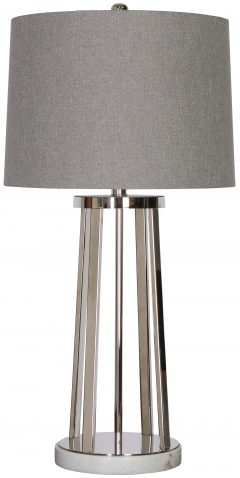 Block & Chisel silver nickel & marble lamp with grey linen shade