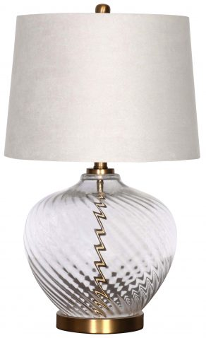 Block & Chisel round glass lamp with grey faux silk shade