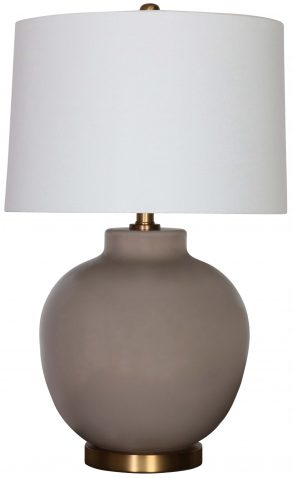 Block & Chisel solid light grey glass lamp with white linen shade