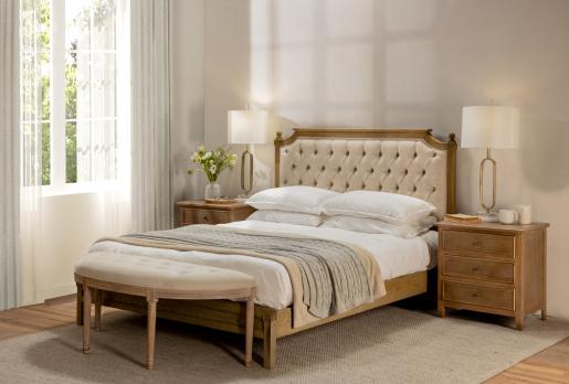 half moon cream tufted bed end