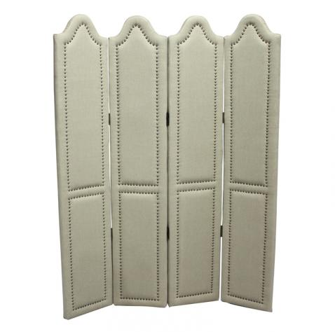 Block & Chisel cream linen upholstered partition screen with studded trim