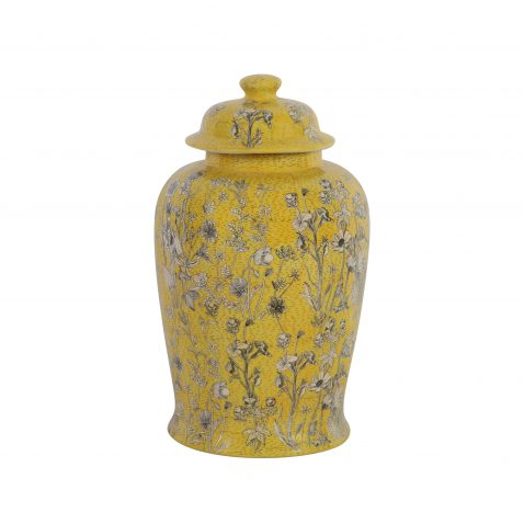 Yellow ginger jar with daisy pattern