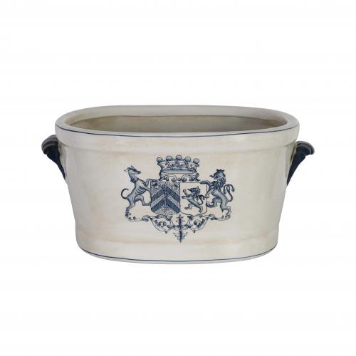 ceramic footbath with blue crest detail
